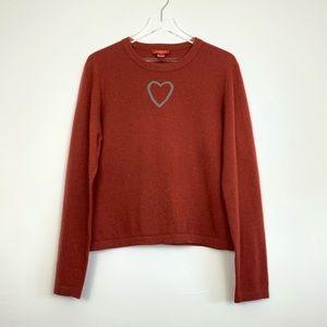 Sundance Gray Heart Red Sweater B62